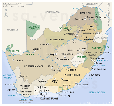 The Nine Provinces of South Africa (from the public domain)
